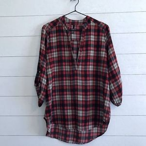 Lulus Red Plaid Pullover Top Roll Tab Sleeves L